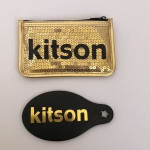 NWOT Kitson Gold Sequin Hand Mirror Case